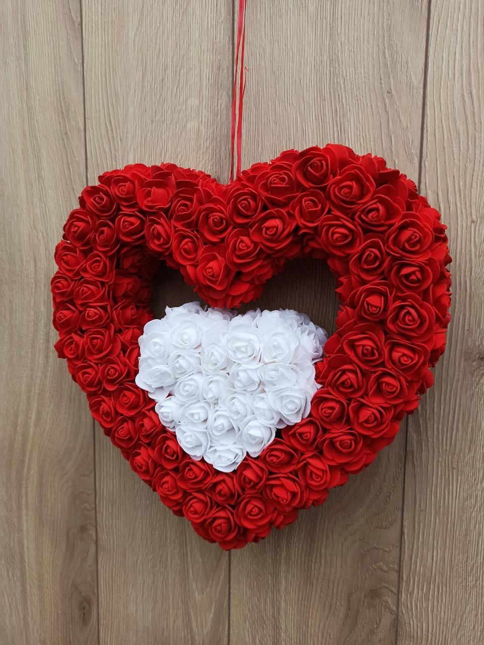 Подвійне червоно-біле серце - декор до дня Валентина