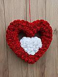 Подвійне червоно-біле серце - декор до дня Валентина, фото 2