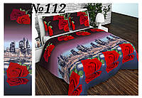 Постельное бельё, бязь GOLD, двуспальный с европростынью комплект, ночной город розы