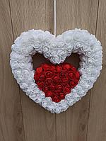 Подвійне біло-червоне серце - декор до дня святого Валентина, фото 1