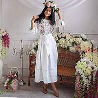 Сучасне лляне вишите плаття Роксолана біле