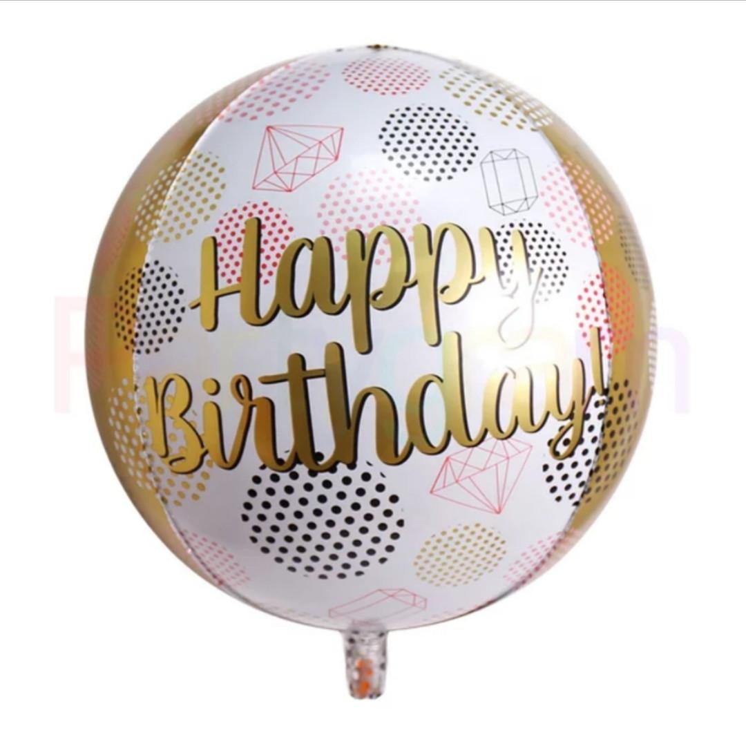 "Куля сфера 4D Happy Birthday 22""/55 см"