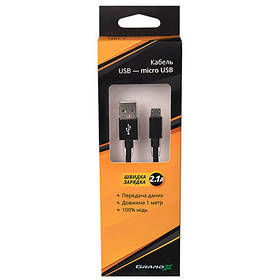 Кабель Grand-X USB-micro USB FM01 2,1A, 1m, Black/Black доп.защита-оплетка (FM01BB)