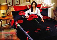 Комплект постельного белья Атласный Diana Weasel black простынь на резинке