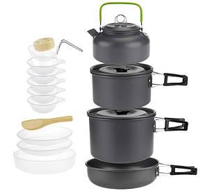 Туристический набор посуды с чайником 4-5 персоны. из анодированного алюминия.