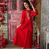 Сучасне лляне вишите плаття Роксолана червоне