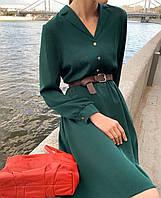 Платье с расклешенной юбкой с поясом в расцветках 51998, фото 1