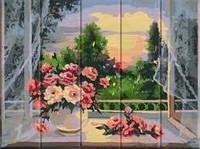 """Картина по номерам на дереве """"Цветы на подоконнике"""""""