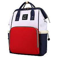 Сумка-рюкзак для мамы Maikunitu многофункциональный органайзер Синий с белым