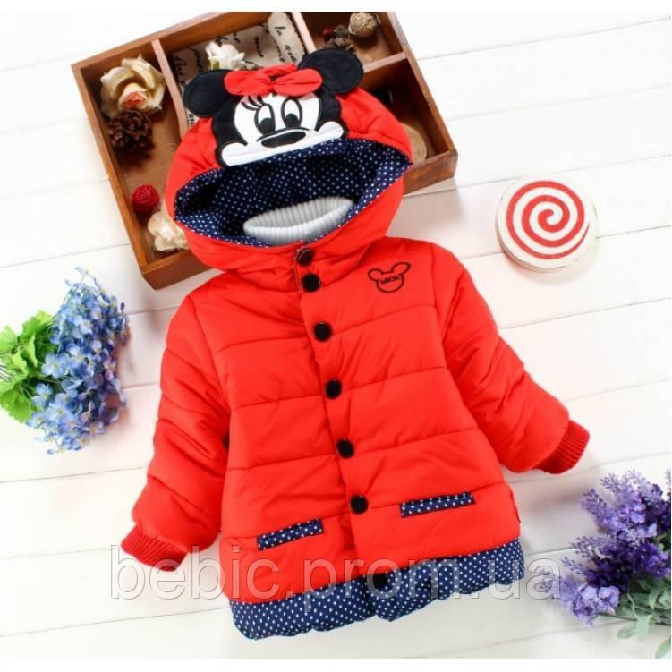 Курточка для девочек Minnye красная  синтепон + мех, деми Рост:80 см