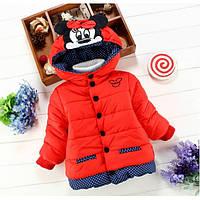 Курточка для девочек Minnye красная  синтепон + мех, деми Рост:80 см, фото 1