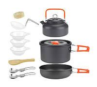 Туристический набор посуды 11в1 с чайником. из анодированного алюминия. + 2 складные ложки. Цвет оранжевый.