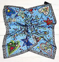 Шелковый платок Птички, 90*90 см, голубой