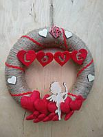 Декоративний вінок з червоними серцями на двері, стіну до дня святого Валентина, фото 1