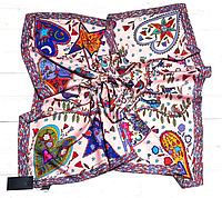 Шелковый платок Птички, 90*90 см, пудровый