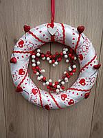 Червоно-білий вінок з серцями  на двері, стіну до дня святого Валентина, фото 1