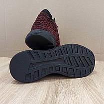 Бордові шкарпетки чоловічі кросівки в стилі Adidas yeezy boost v 2 шкарпетки на підошві тканина текстиль сітка, фото 2