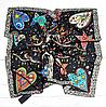 Шелковый платок Птички, 90*90 см, графит