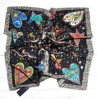 Шелковый платок Птички, 90*90 см, графит, фото 1