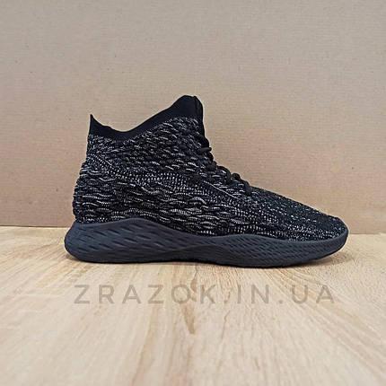 Черные мужские кроссовки носки в стиле Adidas yeezy boost v 2 носки на подошве ткань текстиль сетка, фото 2