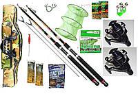 Рыболовный набор 12 в 1 Спиннинг Fat Cat(2 шт)+ катушка Кобра (2 шт.) +Подарок!