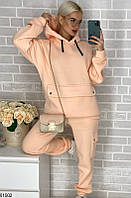 Спортивный женский костюм кофта кенгуру пудра