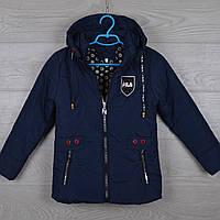"""Куртка детская демисезонная """"FilA реплика""""  6-7-8-9-10 лет (116-140 см). Темно-синяя. Оптом., фото 1"""