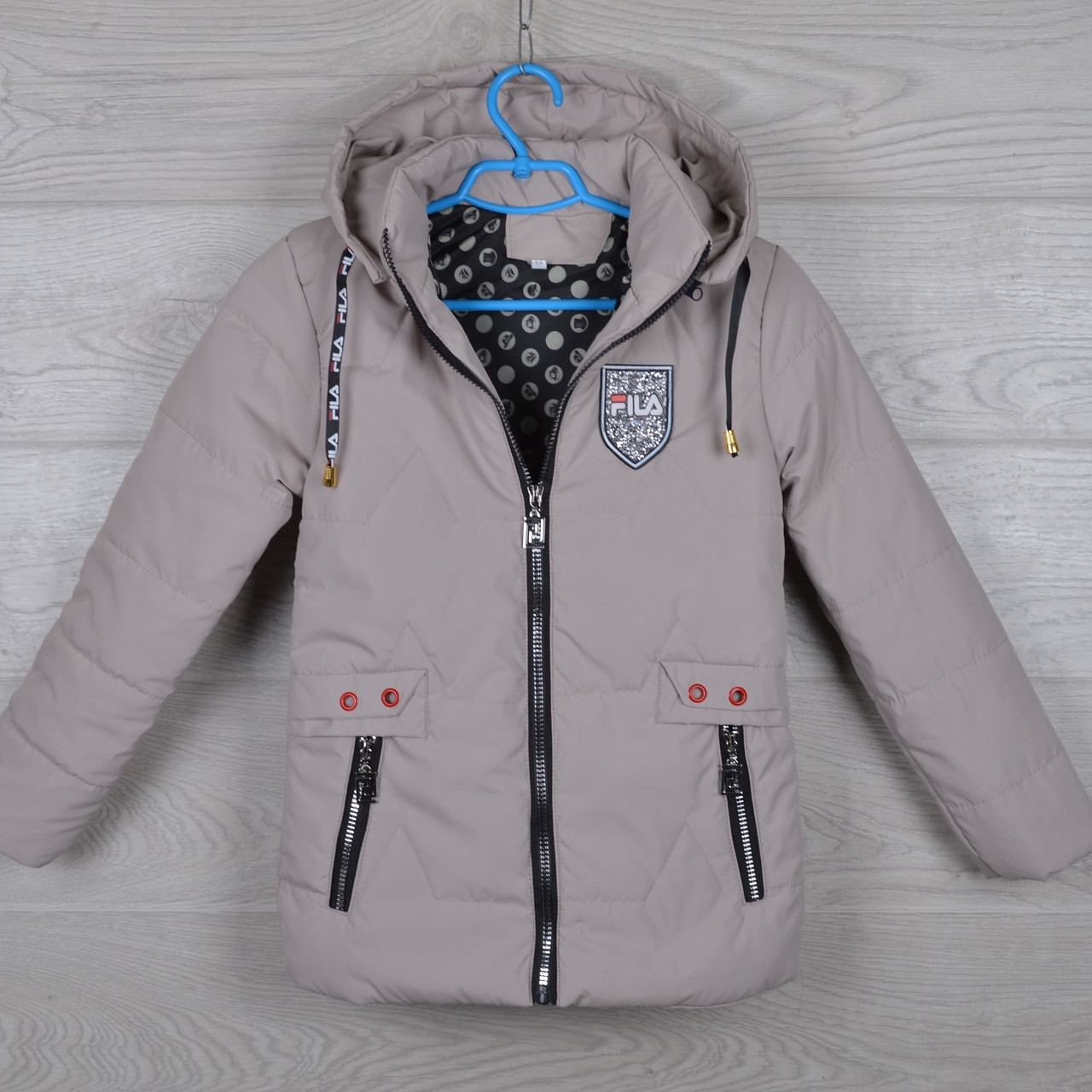 """Куртка детская демисезонная """"FilA реплика""""  6-7-8-9-10 лет (116-140 см). Бежевая. Оптом."""