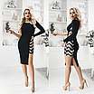 Коктейльное платье со вставкой из пайеток, размеры: S, M, L, XL, черный, бордовый, бутылка, фото 2