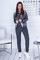 Женский стильный прогулочный спортивный костюм тройка 42 44 46 48 50 52 54 серый черный графит