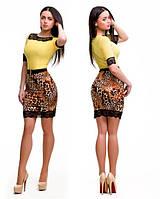 Платье с леопардовой юбкой