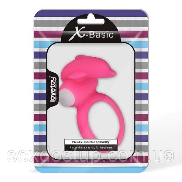 Розовая силиконовая насадка на пенис с дельфинчиком X-Basic Dolphin Silicone Cockring