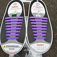 Шнурки силиконовые сиреневые фиолетовые Сoolnice (8+8 штук), фото 1