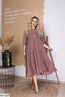 Модное платье за колено свободного кроя размеры батал 50-56 арт 036