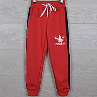 """Спортивные штаны детские """"Adidas реплика"""" 5-6-7-8-9 лет (110-134 см). Красные. Оптом"""