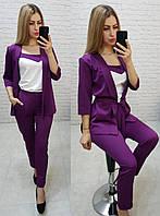 Женский костюм тройка (брюки, майка и кардиган с поясом), арт 165, цвет ультрафиолет / баклажановый
