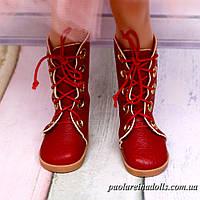 Сапожки высокие красные на шнурках для кукол Паола Рейна