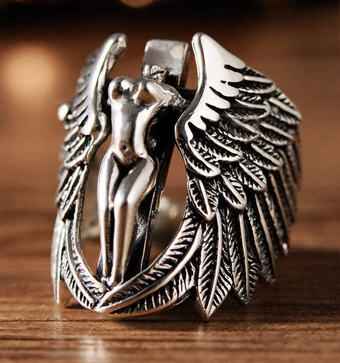 Кольцо серебряное Падший Ангел КЦ-42 Б