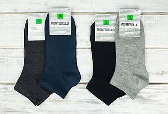 Однотонні чоловічі носки шкарпетки Montebello з бавовни 40-45 12 шт в уп асорті із 4х кольорів