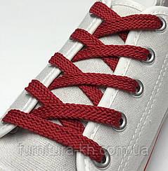 Шнурок Простой Плоский Длинна 1 метр  цвет Красный (ширина 7 мм)