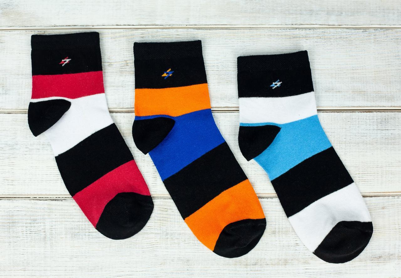 Мужские носки Montebello из хлопка в полоску 40-45 12 шт в уп ассорти цветов
