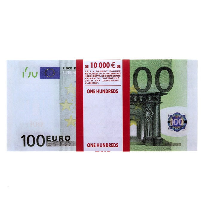 Деньги сувенирные 100 евро . Пачка евро 80 шт.