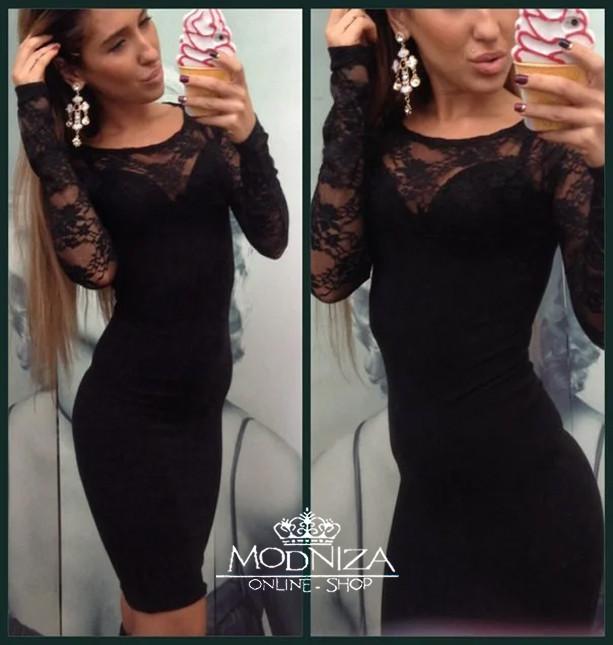 """Черное трикотажное платье с гипюровым верхом """"Lady"""""""
