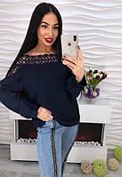 Стильная женская кофта, синяя, 211БК-00009