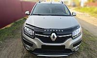 Дефлектор капота Renault Sandero с 2013 г.в. (Рено Сандеро) Vip Tuning
