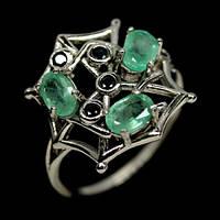 """Необычное кольцо с изумрудами  """"Паутинка"""" , размер 17.9 от студии LadyStyle.Biz"""