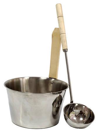 Набор шайка 4 л и черпак 40 см из нержавейки для бани и сауны, фото 2