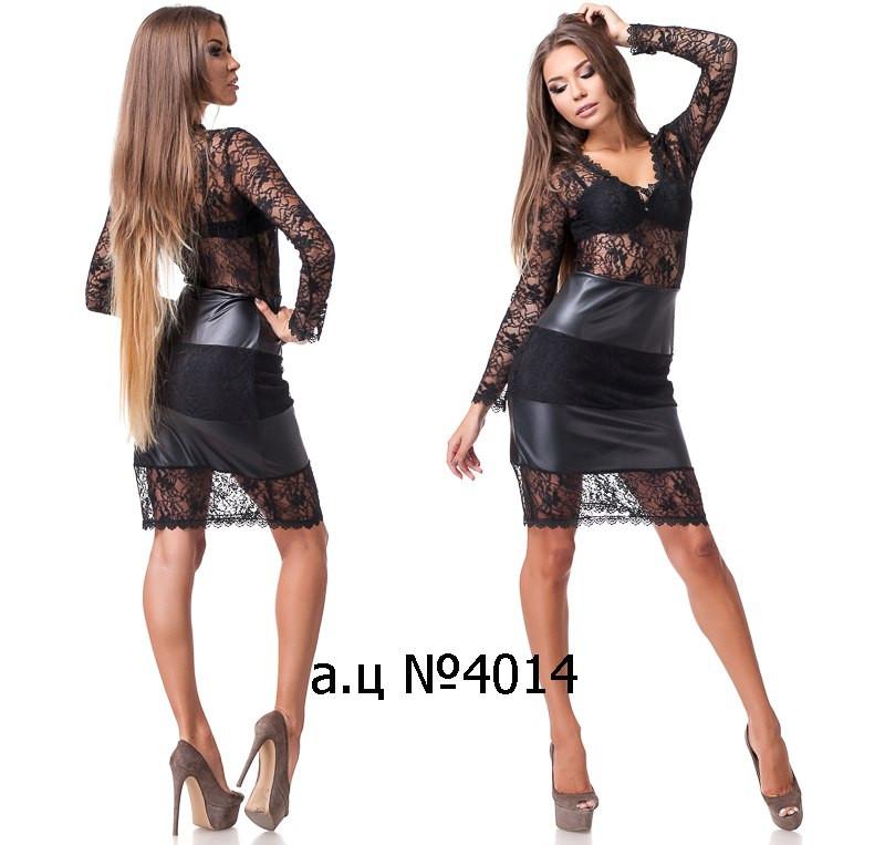 Стильное платье из гипюра со вставками из экокожи