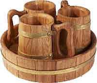 Пивной дубовый набор на 3 персоны для бани и сауны, фото 2