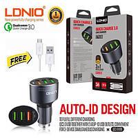 Автомобильное зарядное для телефона LDNIO C703Q + Micro кабель 3 USB 3.6A